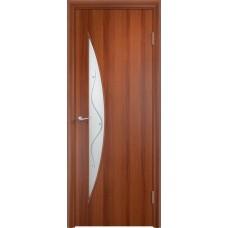 Дверь ламинированная Verda C-06 ДОФ Итальянский орех со стеклом Сатинато с фьюзингом