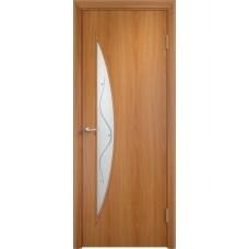 Дверь ламинированная Verda C-06 ДОФ Миланский орех со стеклом Сатинато с фьюзингом