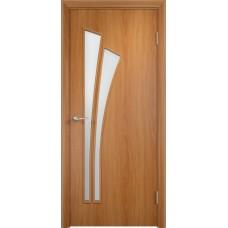 Дверь ламинированная Verda C-07 ДО Миланский орех со стеклом Сатинато