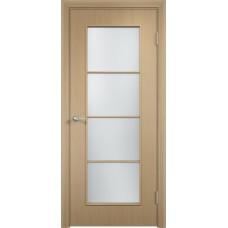 Дверь ламинированная Verda C-08 ДО Беленый дуб АЙС со стеклом Сатинато