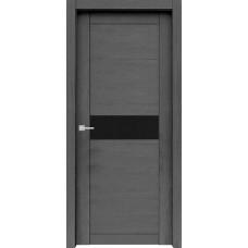 Дверь экошпон Verda Велюкс 02 ДО Ясень грей со стеклом Lacobel черное