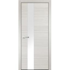 Дверь экошпон Verda Next Новелла-1 Беленый Дуб со стеклом Белый Лакобель