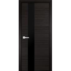 Дверь экошпон Verda Next Новелла-1 Венге со стеклом Черный Лакобель
