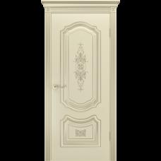 Дверь BP-DOORS Соло R-0 B3 ДГ Эмаль Шампань патина Белое золото