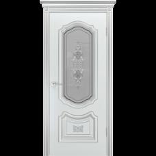 Дверь BP-DOORS Соло R-0 B3 ДО2 Эмаль Белая патина серебро