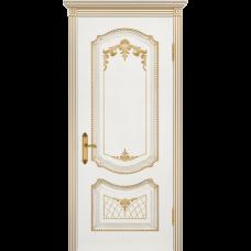Дверь BP-DOORS Соло В3 ДГ Эмаль белая патина золото