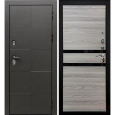 Дверь входная Verda Армада Графит/ Лиственница серая стекло черное