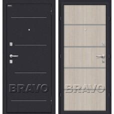 Дверь входная BRAVO Optim Лайн Лунный камень / Cappuccino Crosscut