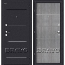 Дверь входная BRAVO Optim Лайн Лунный камень / Grey Crosscut