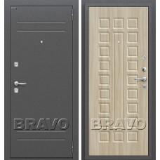 Дверь входная BRAVO Optim Нова Антик Серебро / П-34 Шимо светлый