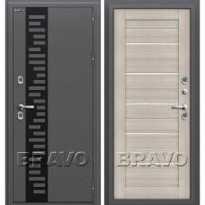 Дверь входная BRAVO Optim Термо 222 Антик Серебро / Cappuccino Veralinga