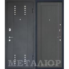 Дверь входная МеталЮр М26 Черный бархат / Грувд серый