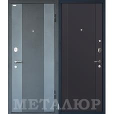 Дверь входная МеталЮр М27 Черный бархат и Серый металлик / Антрацит