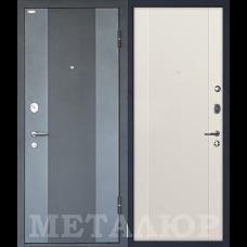 Дверь входная МеталЮр М27 Черный бархат и Серый металлик / Магнолия сатинат