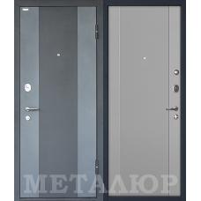 Дверь входная МеталЮр М27 Черный бархат и Серый металлик / Манхэттен