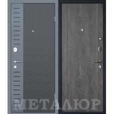 Дверь входная МеталЮр М28 Черный бархат и Серый металлик / Дуб шале графит
