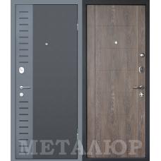 Дверь входная МеталЮр М28 Черный бархат и Серый металлик / Дуб шале корица