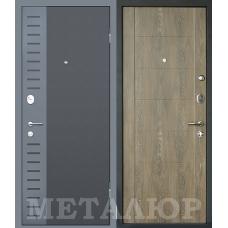 Дверь входная МеталЮр М28 Черный бархат и Серый металлик / Дуб шале натуральный