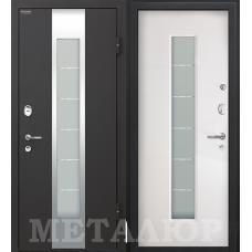 Дверь входная МеталЮр М35 Черный бархат / Белый малибу