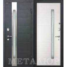 Дверь входная МеталЮр М36 Серый металлик / Белый малибу