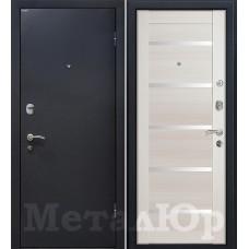Дверь входная МеталЮр М41 Черный шелк / Эш Вайт мелинга
