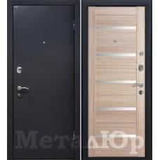 Дверь входная МеталЮр М41 Черный шелк / Капучино мелинга