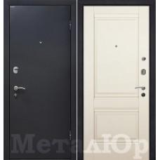 Дверь входная МеталЮр М41 Черный шелк / Магнолия сатинат