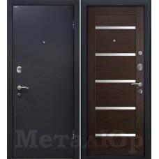 Дверь входная МеталЮр М41 Черный шелк / Венге мелинга